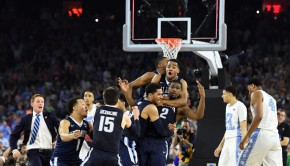 Apr 4, 2016; Houston, TX, USA; Villanova Wildcats forward Kris Jenkins (2) celebrates with teammates after making the game-winning shot against the North Carolina Tar Heels in the championship game of the 2016 NCAA Men's Final Four at NRG Stadium. Mandatory Credit: Robert Deutsch-USA TODAY Sports